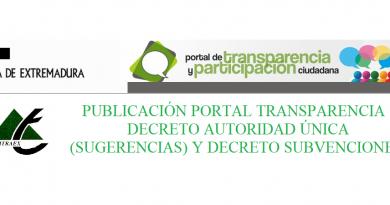 PUBLICACIÓN PORTAL TRANSPARENCIA DECRETO AUTORIDAD ÚNICA (SUGERENCIAS) Y DECRETO SUBVENCIONES